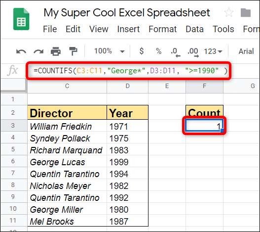 Have more than one range and criterion to match? Use the COUNTIFS function to count multiple ranges at the same time.