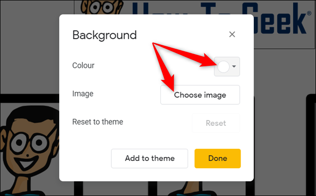 Choose a color or upload a custom image.