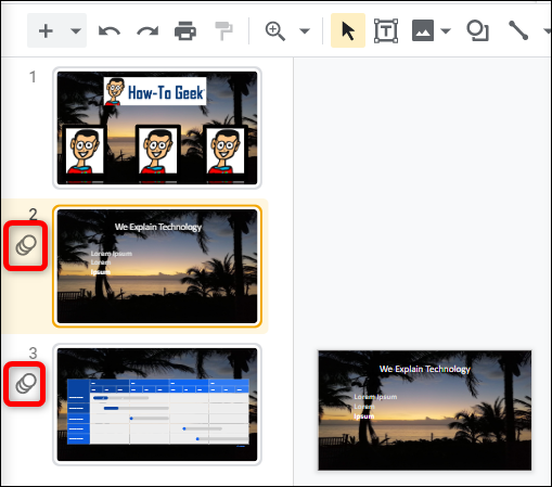 Slides that have an transition or animation will have a special icon next to the slide in the panel on the left side.
