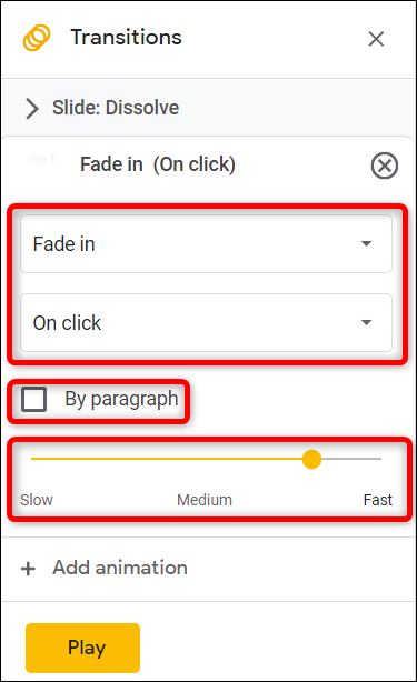 """Choose the animation type, the trigger, and the speed it animates. Tick the box next to """"By paragraph"""" to animate lists one line at a time."""
