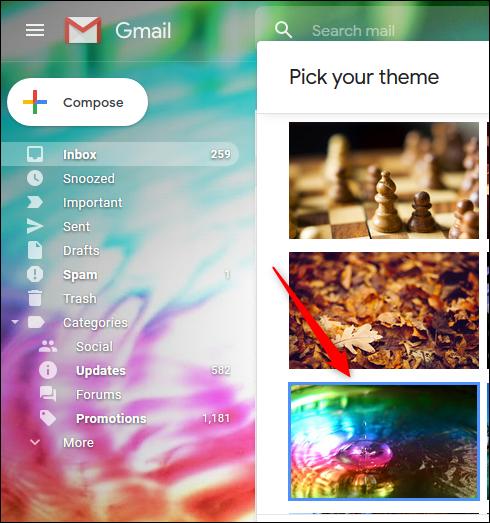 Una vista previa de un tema de colores brillantes en Gmail.
