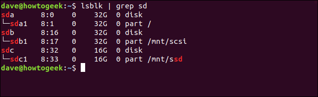 Output from lsblk | grep sd showing mounted block devices in a terminal window
