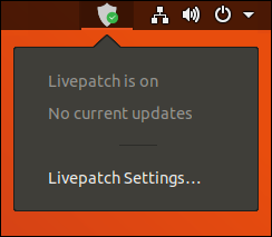 Livepatch notification area icon and menu