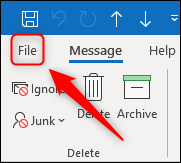 Outlook's File option.