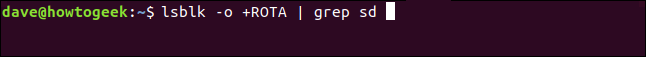 lsblk -o +ROTA | grep sd in a terminal window