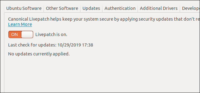 Livepatch active in the Software and Updates dialog window