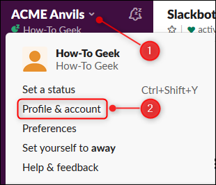 "Click the arrow to open the main menu, and then select the ""Profile & Account"" option."