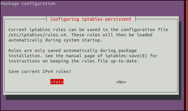 """Press the space bar to accept the """"Yes"""" option in the iptables-persistent IPV4 screen."""