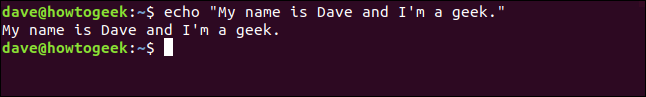 "echo ""My name is Dave and I'm a geek."" in a terminal window"