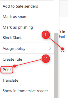 The three dots in the top-right side of the mail, and the Print option.