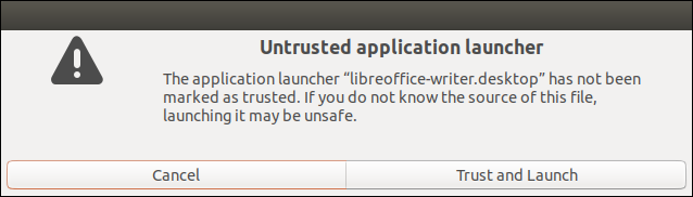 Warning dialog about an untrusted launcher