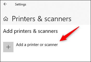 "Click ""Add a Printer or Scanner."""