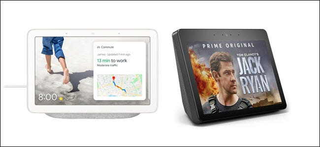 Un Nest Home Hub junto a un Amazon Echo Show