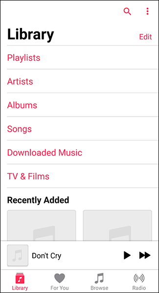 Open the Apple Music app on Android and tap the Library app