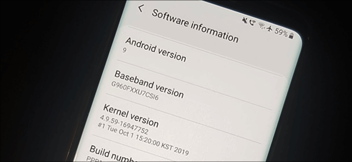 The Software information menu on a Samsung Galaxy S9 running Android 9