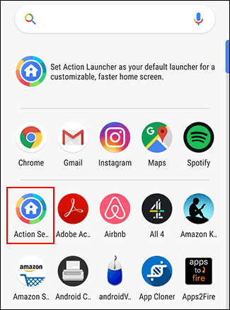 Action Launcher users can access the Action Settings menu through the app drawer