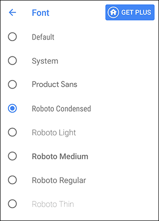 Select your chosen font in the Action Launcher Font menu