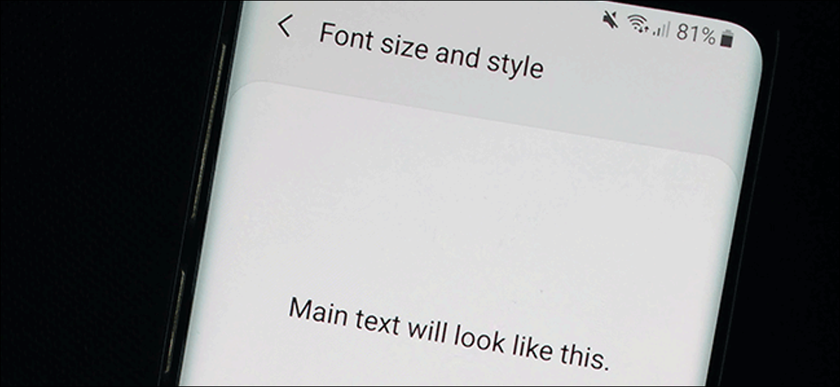 The Font Settings menu in Android