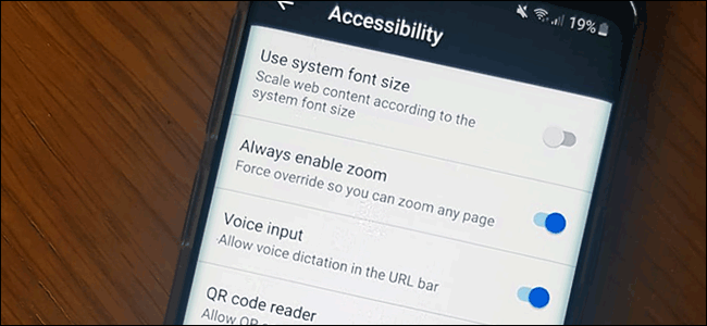 The accessibility menu in Firefox on Android