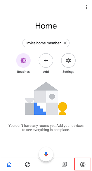 Tap the Accounts tab in the Google Home app.