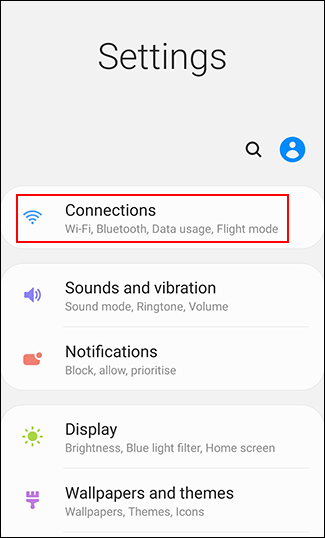 "Tap ""Connections."""