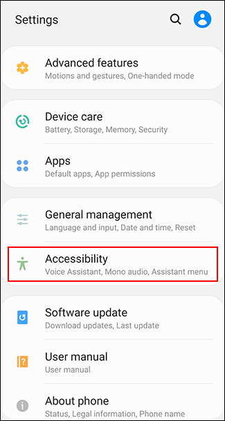 Tap Accessibility in the Android settings menu