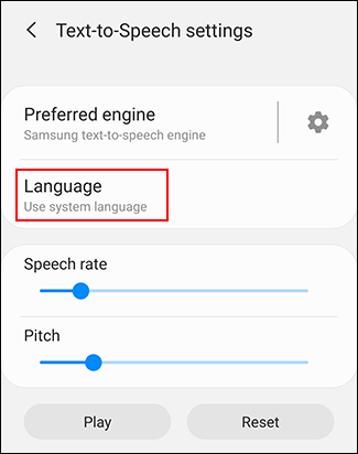 Tap Language in your TTS settings menu
