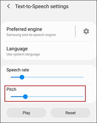Move your Pitch slider to modify your TTS pitch rate