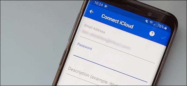 "The ""Connect iCloud"" sign-in form on an Android smartphone."