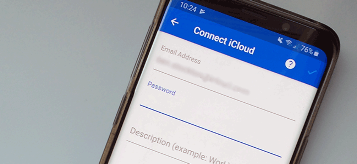 """The """"Connect iCloud"""" sign-in form on an Android smartphone."""