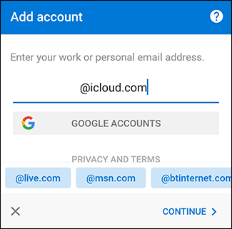 "The ""Add Account"" pane in the Outlook app."