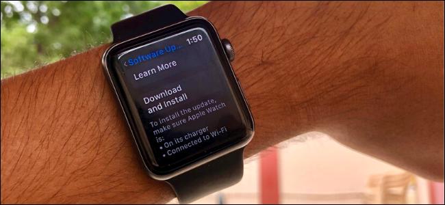 Apple Watch running watchOS 6 showing software update screen