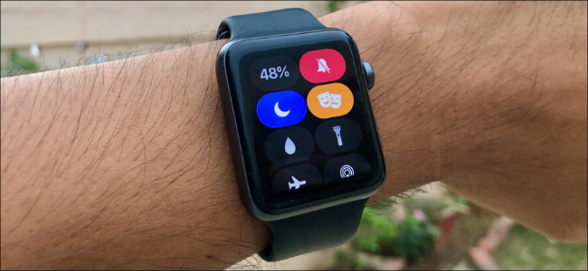 Apple Watch showing Control Center with silent mode toggles enabled