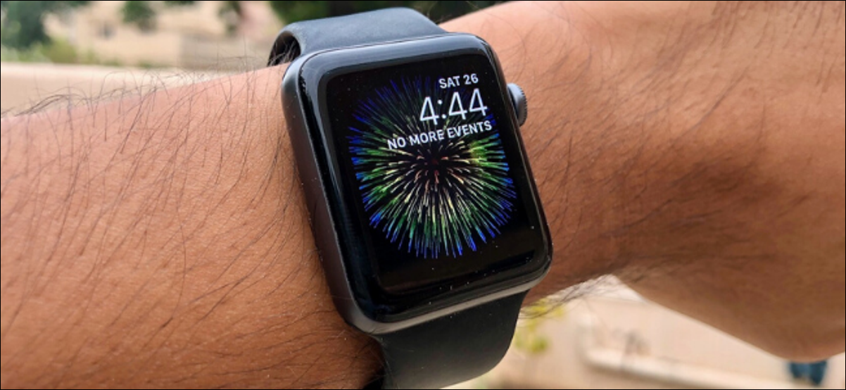 Apple Watch showing Fireworks GIF as wallpaper