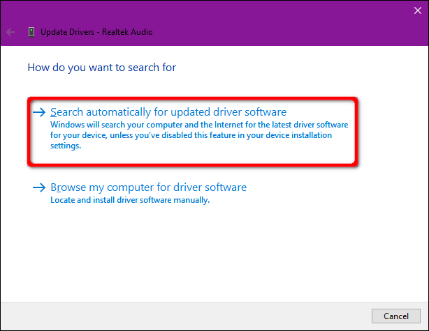Windows 10 Auto Search for Drivers