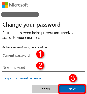 Change Password Dialog Box Windows 10