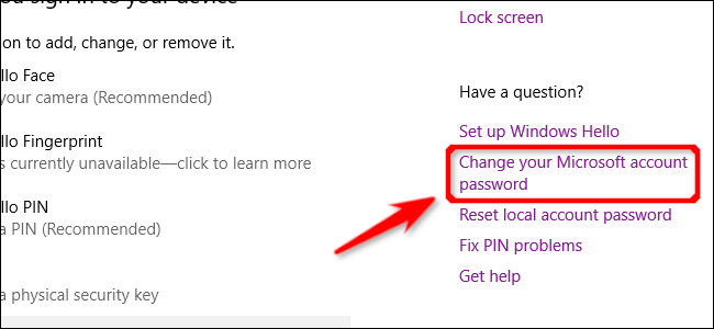 Change Password Link Windows 10