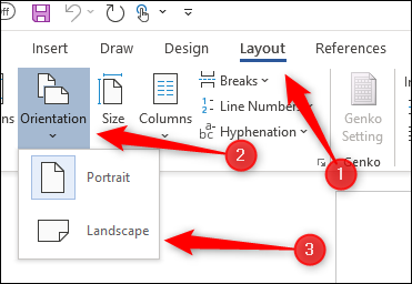 Change orientation of document to landscape