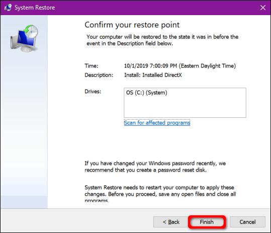 Windows 10 Confirm Restore Point