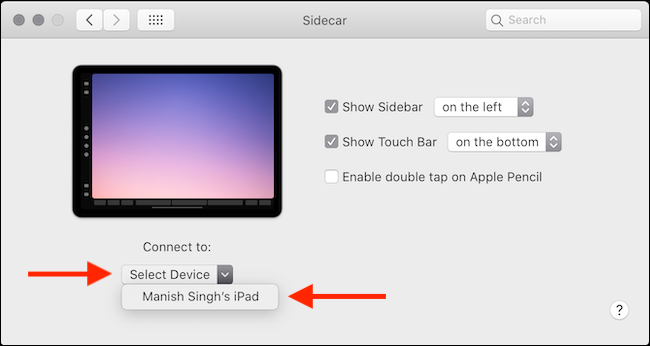 Connect to Sidecar from System Preferences