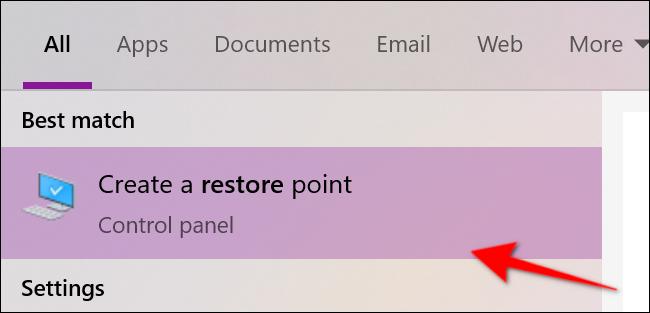 Windows 10 Create Restore Point