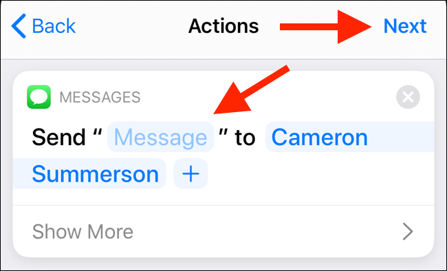 "Customize the action, and then tap ""Next."""