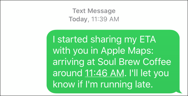 Details of the SMS that is sent as Maps ETA