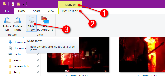 File Explorer Start Slideshow