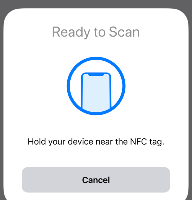 """The """"Ready to Scan"""" screen on an iPhone."""