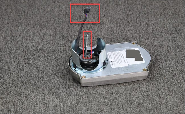 A Schlage Encode assembly with a red box around a wire assembly and bar.