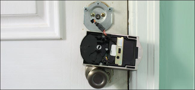 An interior lock piece wired to the rest of the lock.