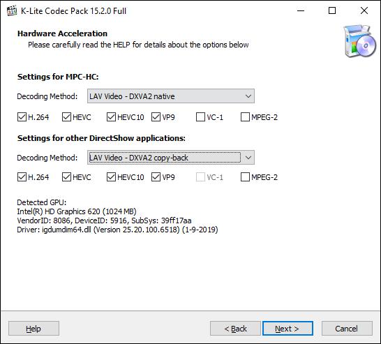 Confirme las opciones de aceleración de hardware de K-Lite Media Player Classic, luego haga clic en Siguiente