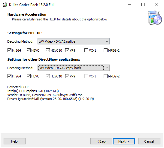 Confirm K-Lite Media Player Classic hardware acceleration options, then click Next