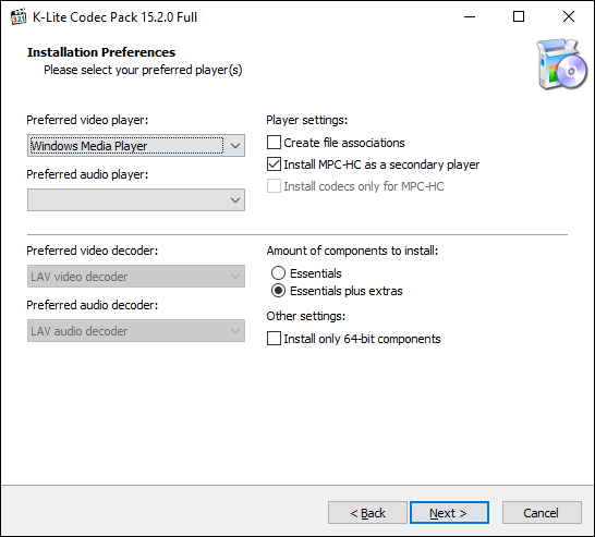 Select your preferred video player in the K-Lite installer, then click Next
